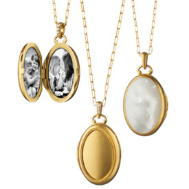Oversized Mother of Pearl Oval Locket in 18k Satin Yellow Gold