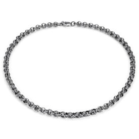 Oxidized Roped Linked Necklace in Sterling Silver