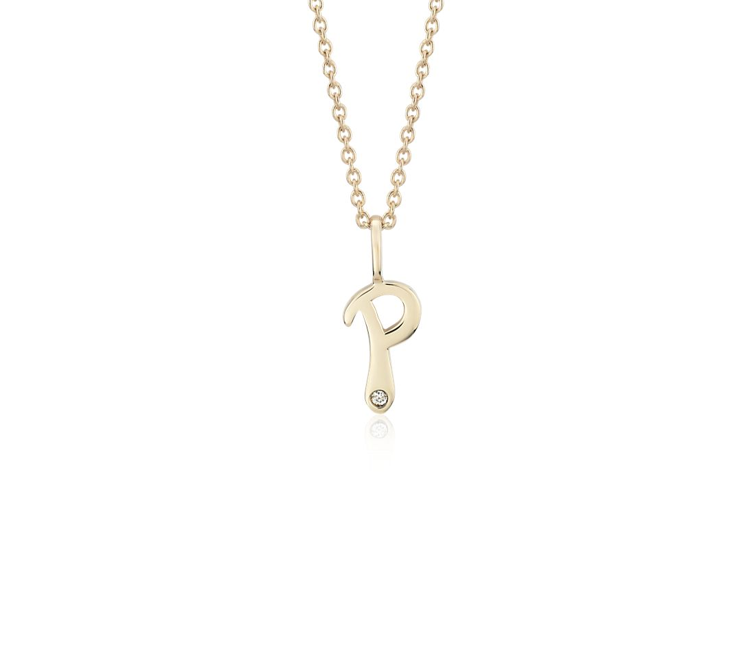 """P"" Mini Initial Diamond Pendant in 14k Yellow Gold"