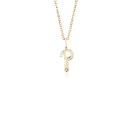 P mini initial diamond pendant in 14k yellow gold blue nile p mini initial diamond pendant in 14k yellow gold aloadofball