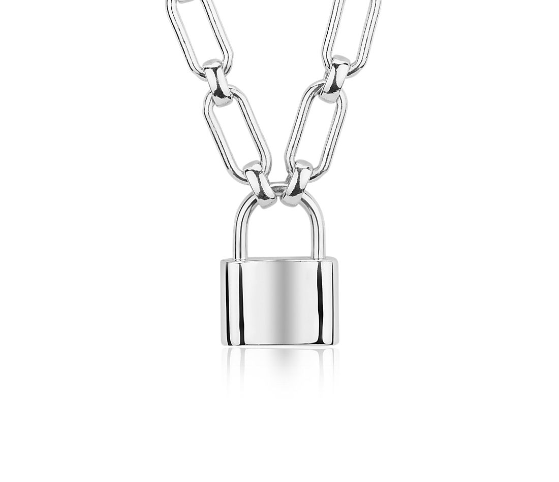 Padlock Necklace in Sterling Silver