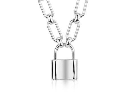 jewelry silver padlock dior in necklace lyst metallic