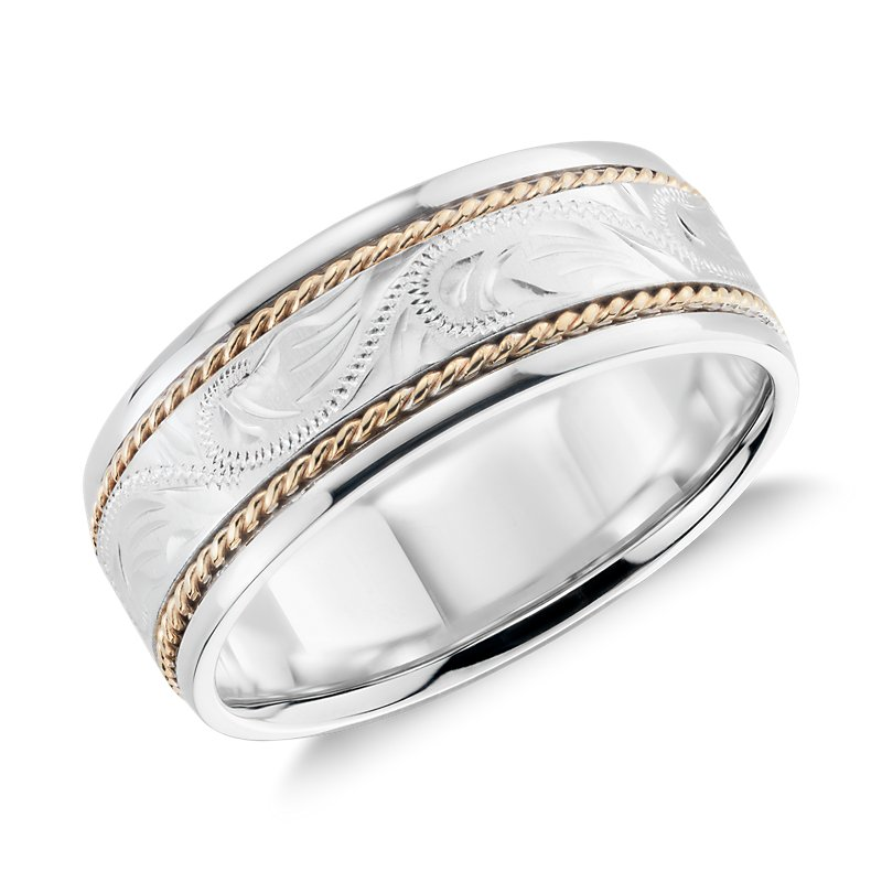 Two Tone Paisley Wedding Ring in 14k White Gold and Yellow Gold (