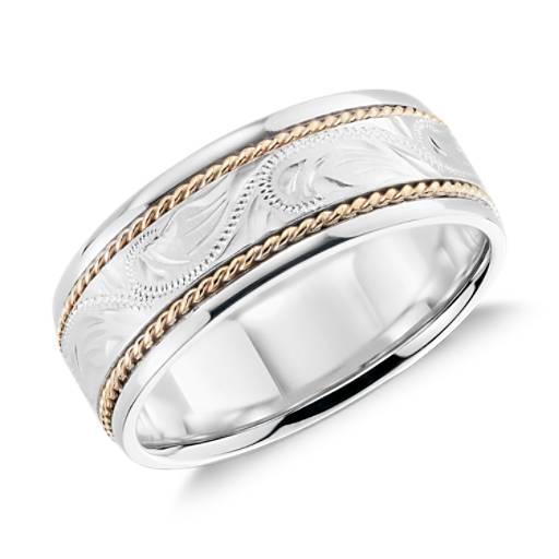 White Wedding Espa L: Two Tone Paisley Wedding Ring In 14k White Gold And Yellow