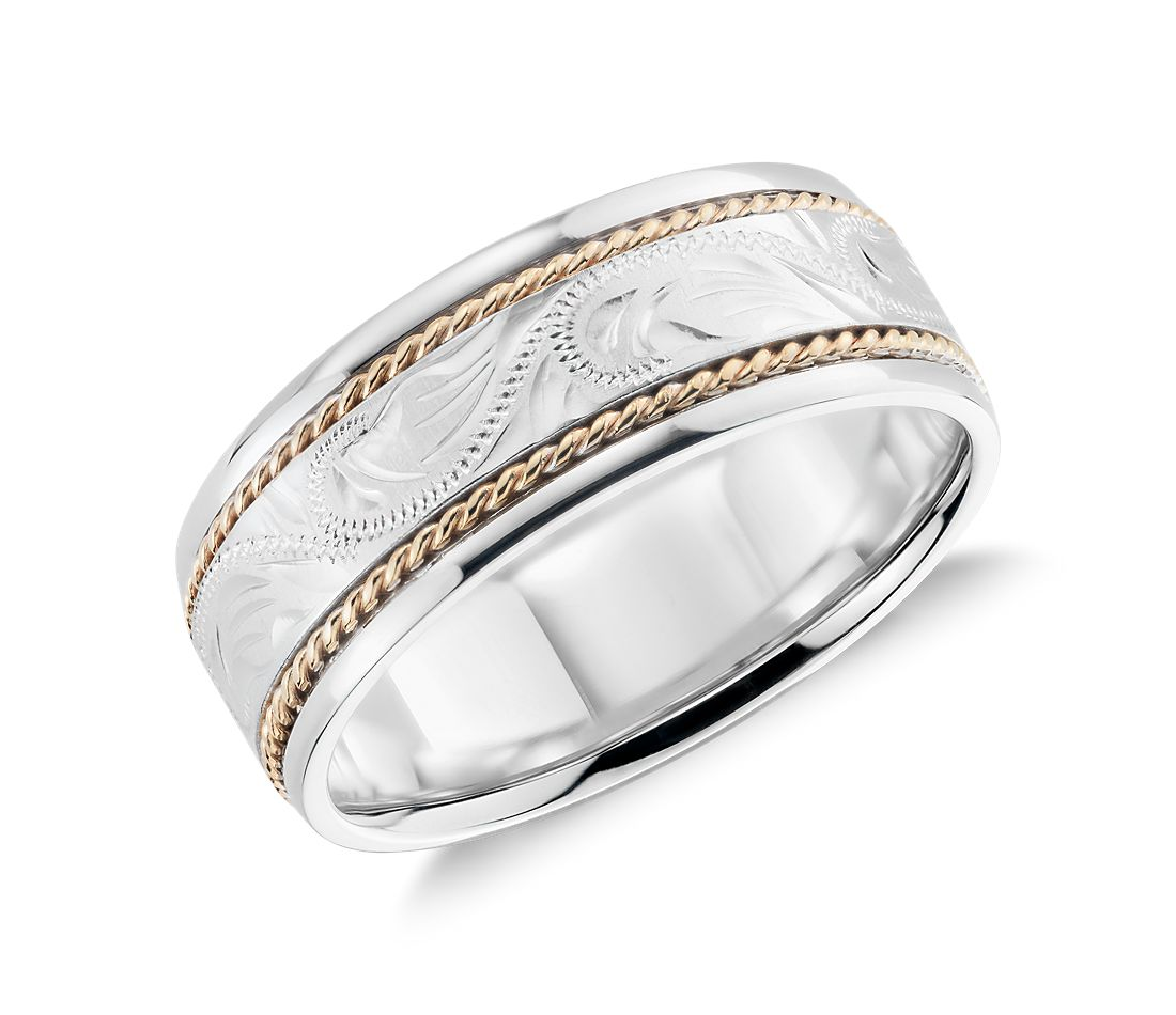 two tone paisley wedding ring in 14k white gold and yellow gold 8mm - White Gold Wedding Rings