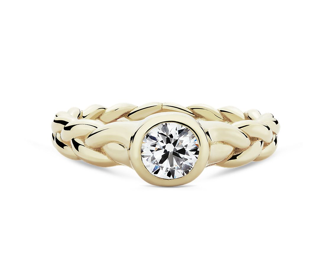 Pamela Love 'Treccia Ring' Diamond Engagement Ring in 18k Yellow Gold