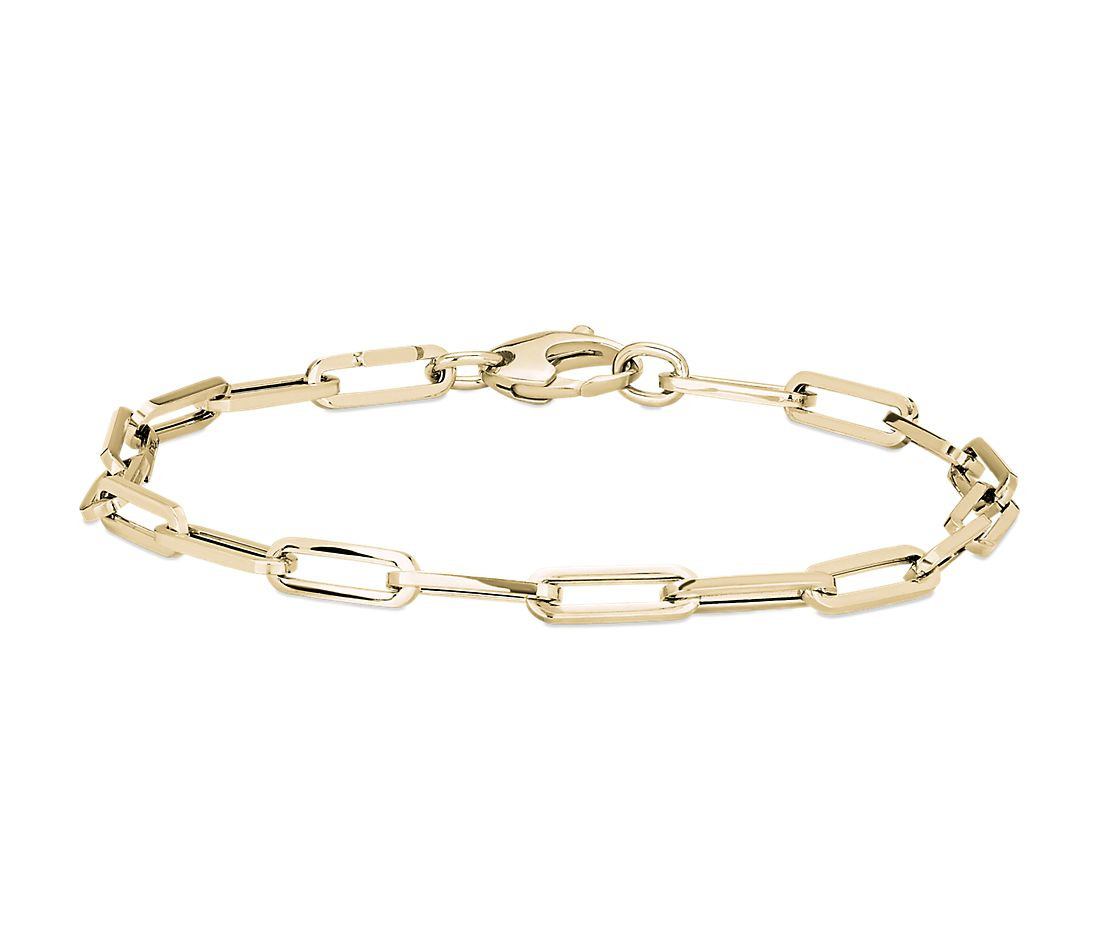 Paperclip Bracelet in 14k Italian Yellow Gold