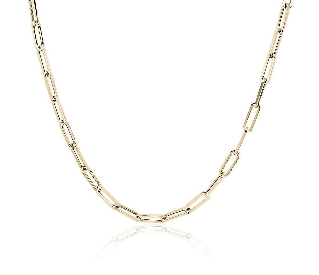 Paperclip Necklace in 14k Italian Yellow Gold
