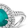 Paraiba Tourmaline and Diamond Double Halo Ring in 18k White Gold (1.54 ct center)