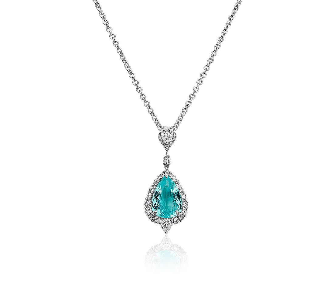 Paraiba Tourmaline and Diamond Drop Pendant in 18k White Gold