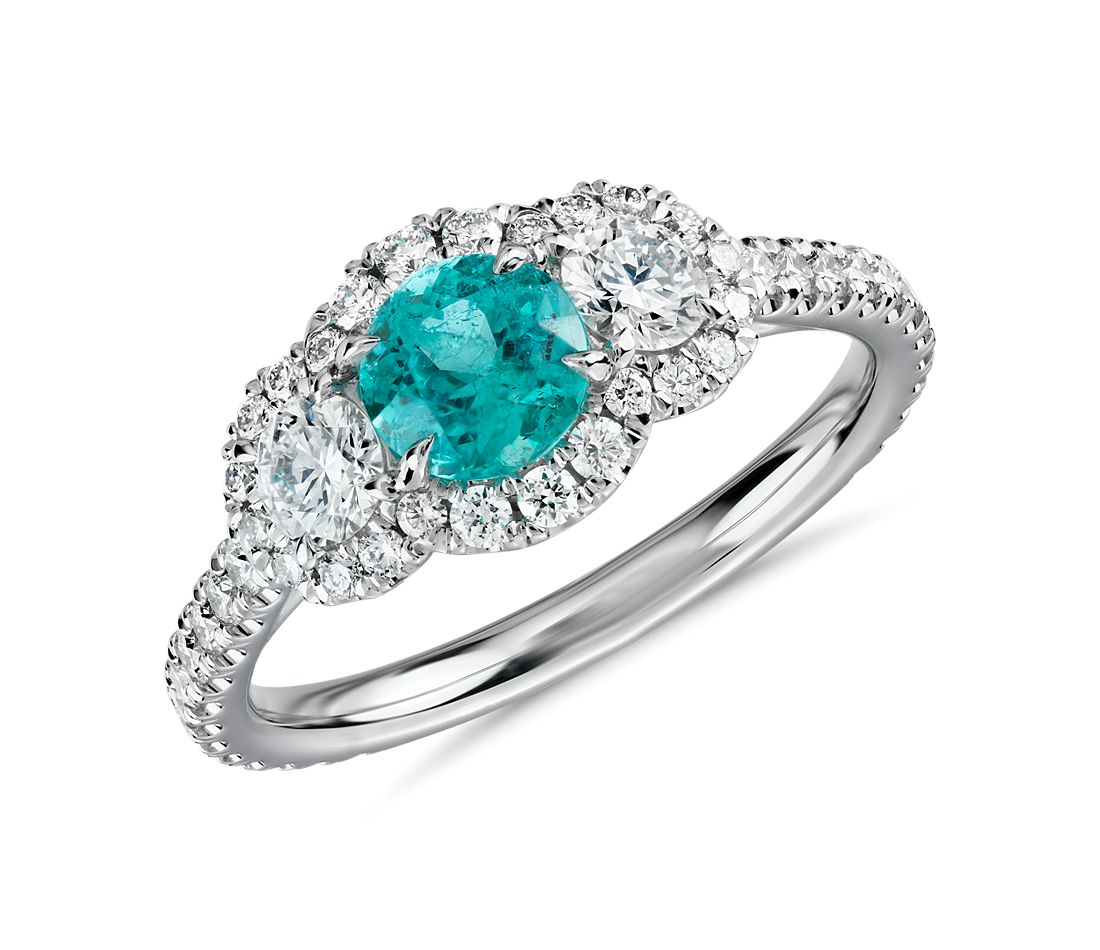 Paraiba Tourmaline And Diamond Three Stone Ring In 18k