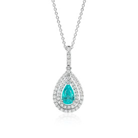 Paraiba Tourmaline and Diamond Double Halo Pendant in 18k White Gold (0.93 ct center)