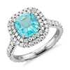 Paraiba Tourmaline and Diamond Double Halo Ring in Platinum (1.63 ct. tw. center)