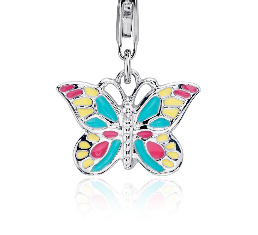 Breloque papillon pastel en argent sterling