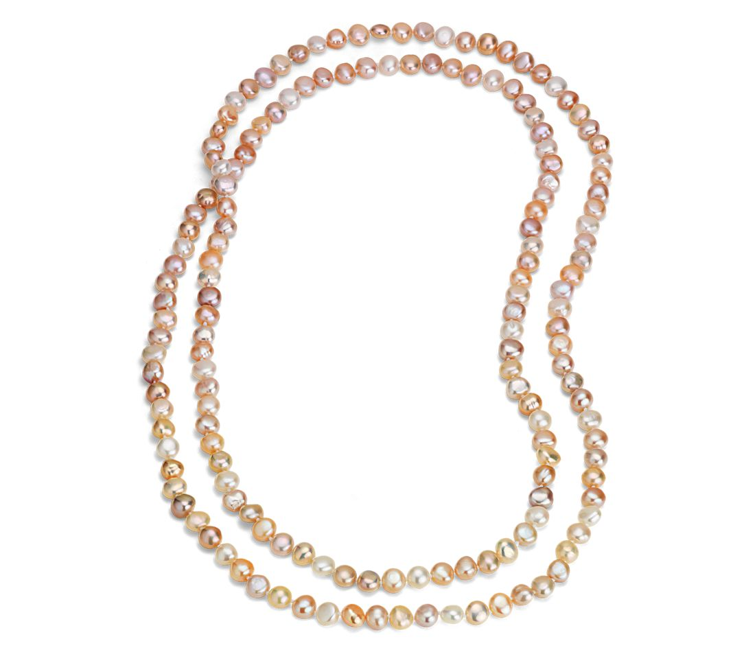 "Long Pastel Freshwater Cultured Pearl Necklace (54"")"