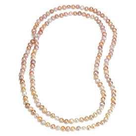 Collier long de perles de culture d'eau douce pastel (137 cm)