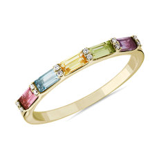 Pastel Multi Rainbow Gemstone and Diamond Ring in 14k Yellow Gold