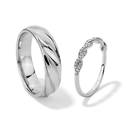 Pavé Twist Diamond and Alternating Polish and Matte Rope Set in 14k White Gold