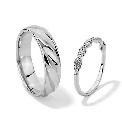 パヴェツイストダイヤモンドとオルタネートポリッシュ&マットロープのセット (K14ホワイトゴールド)