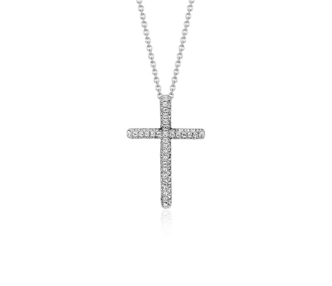 Pavé Cross Diamond Pendant in 14k White Gold