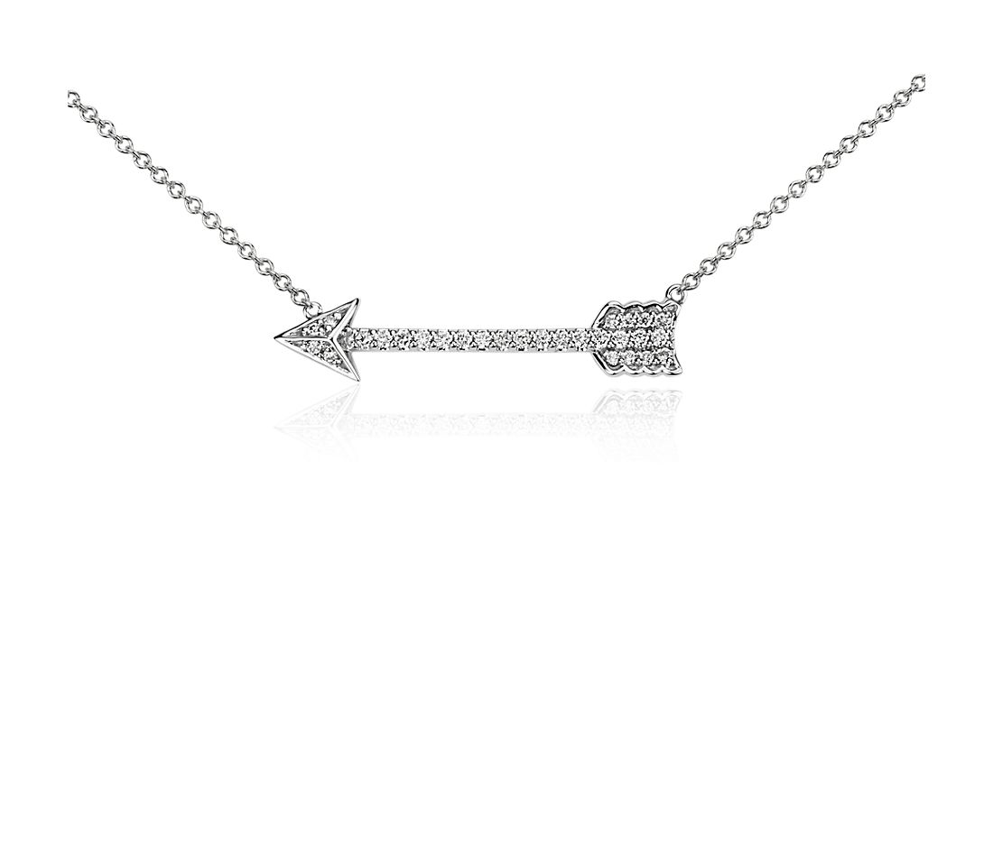 Diamond Arrow Necklace in 14k White Gold (1/6 ct. tw.)