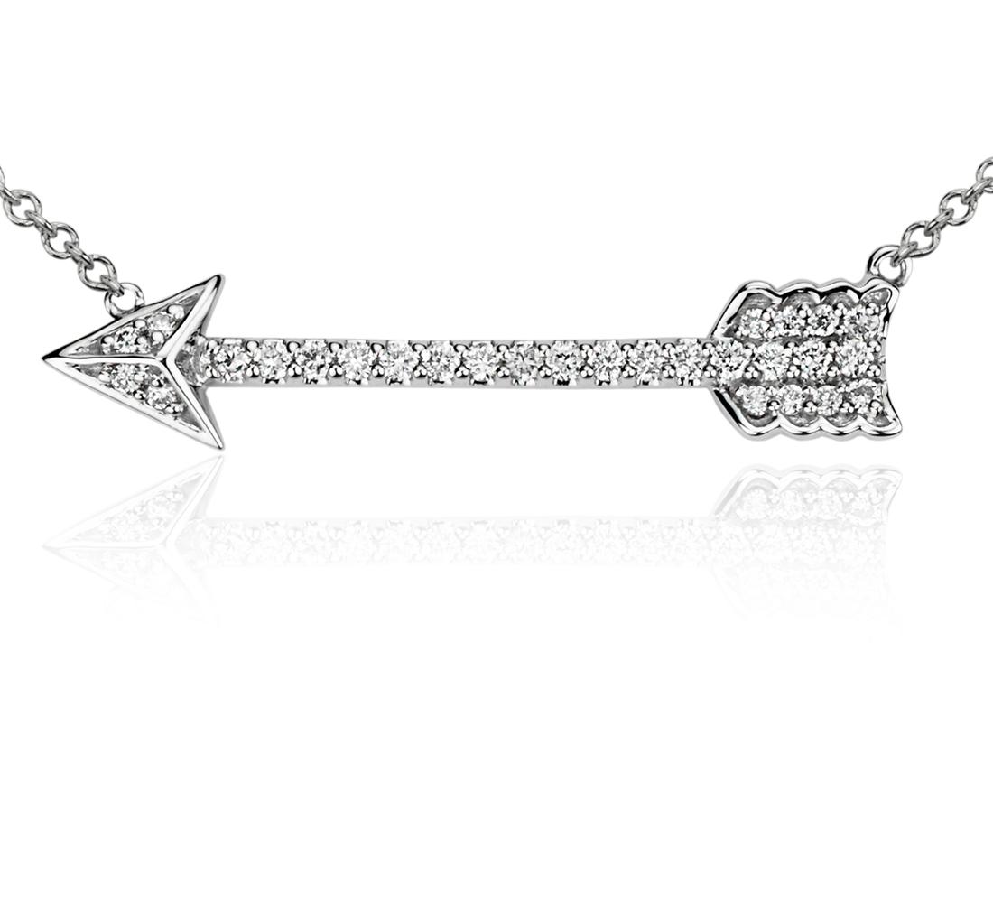 Diamond Arrow Necklace in 14k White Gold (1/6 ct. tw.)
