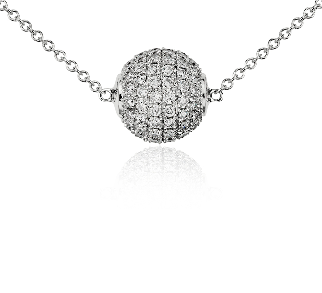 Sphere Diamond Necklace in 14k White Gold (5/8 ct. tw.)
