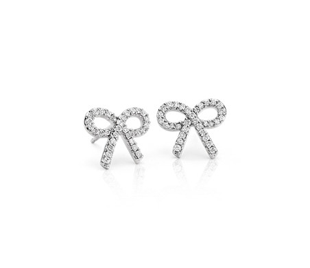 Diamond Bow Earrings In 14k White Gold 1 4 Ct Tw