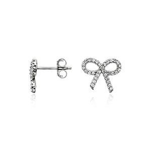 Diamond Bow Earrings in 14k White Gold (1/4 ct. tw.)