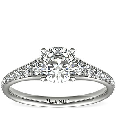 Graduated Pavé Diamond Engagement Ring in 14k White Gold