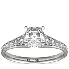 Graduated Pavé Diamond Engagement Ring in 14k White Gold (0.31 ct. tw.)