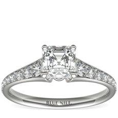 Bague de fiançailles en diamants sertis pavé en or blanc 14carats (0,31carat, poids total)