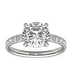 18k 白金扇贝形密钉钻石订婚戒指<br>(3/8 克拉总重量)