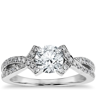Intertwined Pavé Diamond Engagement Ring in 18k White Gold