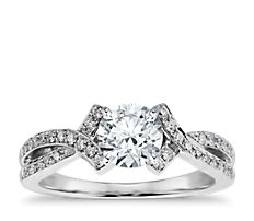 Intertwined Pavé Diamond Engagement Ring in 18k White Gold (0.25 ct. tw.)