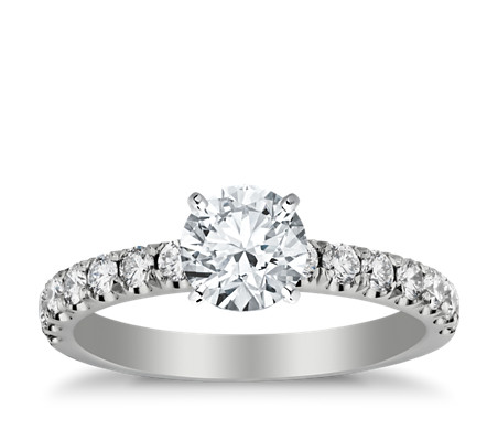 Scalloped Pavé Diamond Engagement Ring in 18k White Gold (2/5 ct. tw.)