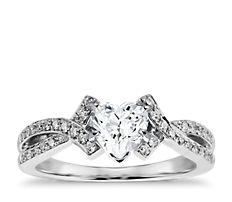 Bague de fiançailles entremêlée en diamants sertis pavé en or blanc 18carats (0,25carat, poids total)