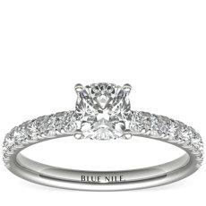 Scalloped Pavé Diamond Engagement Ring in 18k White Gold (3/8 ct. tw.)