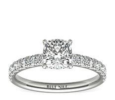 Scalloped Pavé Diamond Engagement Ring in 18K White Gold (0.38 ct. tw.)