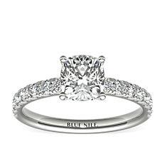 18k 白金扇贝形密钉钻石订婚戒指(3/8 克拉总重量)