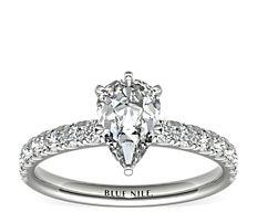 Bague de fiançailles festonnée en diamants sertis pavé en or blanc 18carats (0,38carat, poids total)