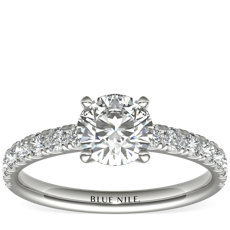 Scalloped Pavé Diamond Engagement Ring in 18k White Gold (3/8 ct. tw.)