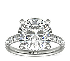 Scalloped Pavé Diamond Engagement Ring in 18K White Gold (0.38 ct. tw.)