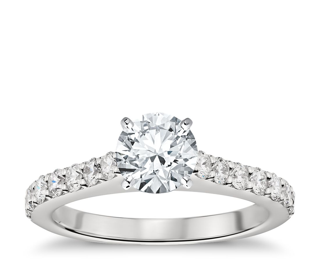 Cathedral Pavé Diamond Engagement Ring In Platinum (1/2 Ct