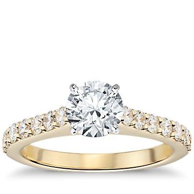 18k 金大教堂密钉钻石订婚戒指<br>(1/2 克拉总重量)
