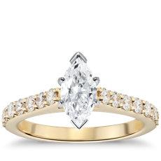 18k 金大教堂密钉钻石订婚戒指(1/2 克拉总重量)