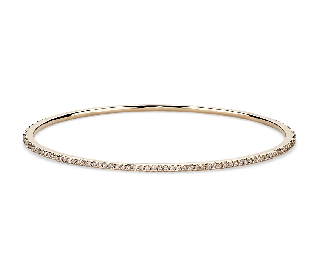 Stackable Pavé Diamond Bangle in 18k Yellow Gold