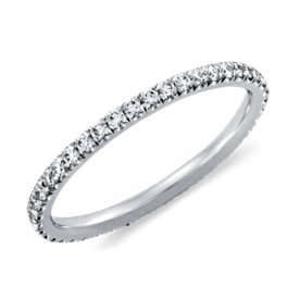 french pav diamond eternity ring in 14k white gold 38 ct tw - Gold And Silver Wedding Rings