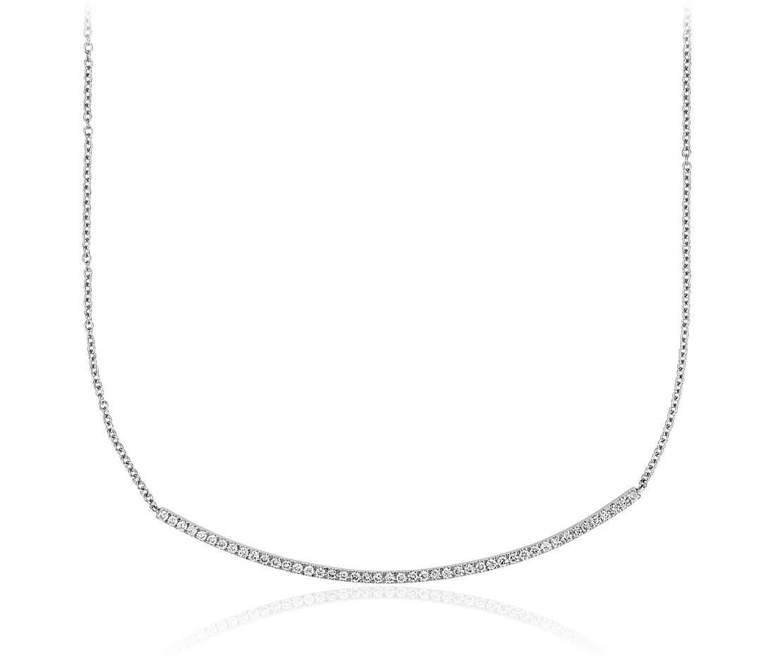 Collar de diamante con barra en oro blanco de 14 k (1/3 qt. total)