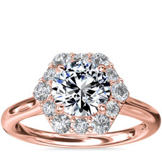 NEW Pavé Hexagon Halo Diamond Engagement Ring in 14k Rose Gold (3/8 ct. tw.)